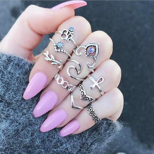 10pcs/Set Bohemia Crown Flower Crystal Wave Rings Set Knuckle Finger Midi Rings for Women Party Jewelry