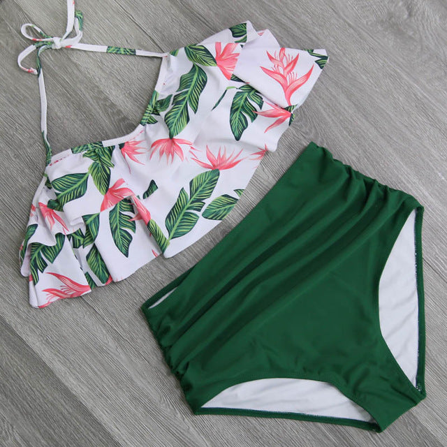 Bikini Set Double Ruffle Swimwear Women Sexy Swimsuit Off Shoulder High Waist Swim Wear