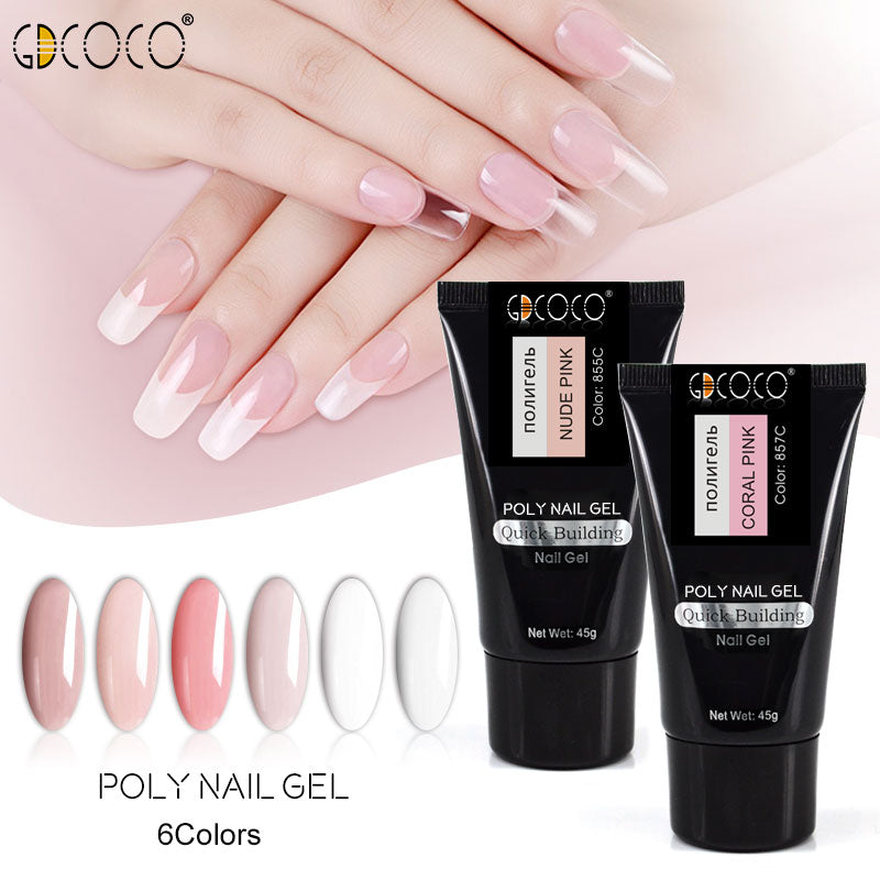 Jelly Poly Gel 45g Nail Art Transparent Clear White Pink Natural Color Hard Jelly Builder Nail Extend Gels