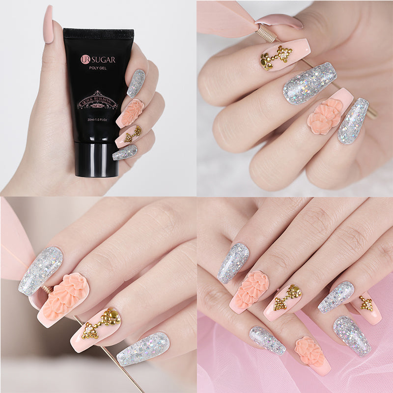 30ml Clear Pink Jelly Poly Gel Quick Building Nail Art Tips Extend UV Builder Gel Camouflage