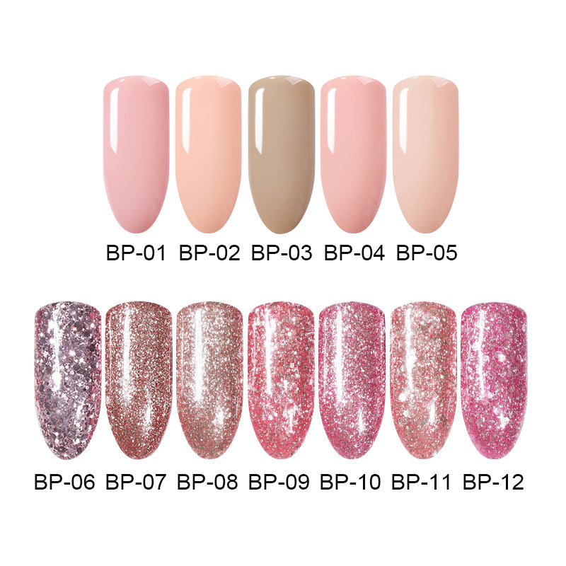 5ml 10ml Rose Gold Gel Polish Glitter Soak Off UV Gel Nude Color Coat Long Lasting DIY Lacquer Nail Art Varnish