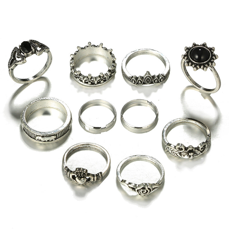 10pcs/Set Bohemia Silver Elephant Flower Rose Heart Crown Carved Rings Set Knuckle Rings for Women Jewelry