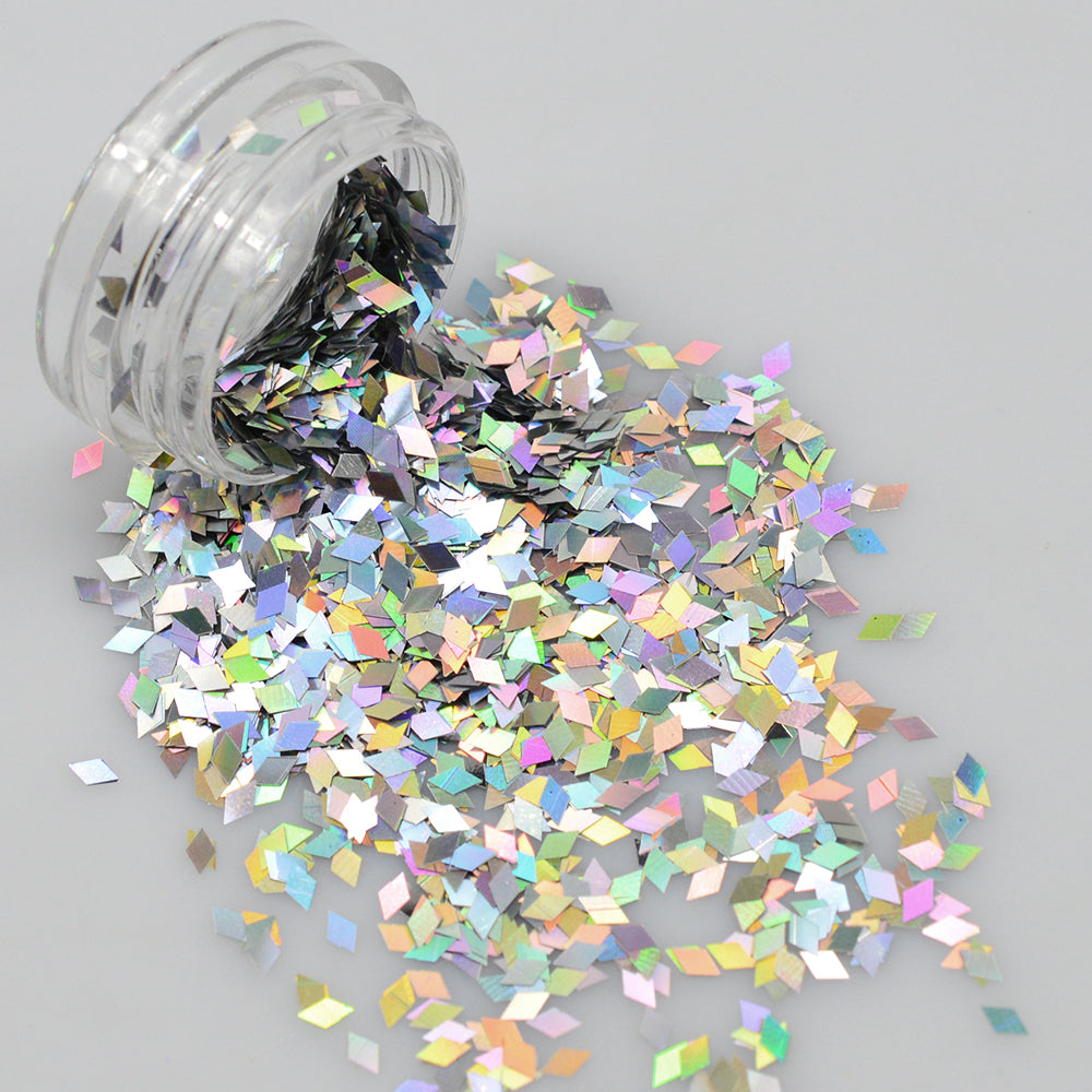 1 Bottle Laser Silver Nail Glitter Sequins Dust Mixed Rhombus Shape DIY Polish Flakes Decorations Manicure