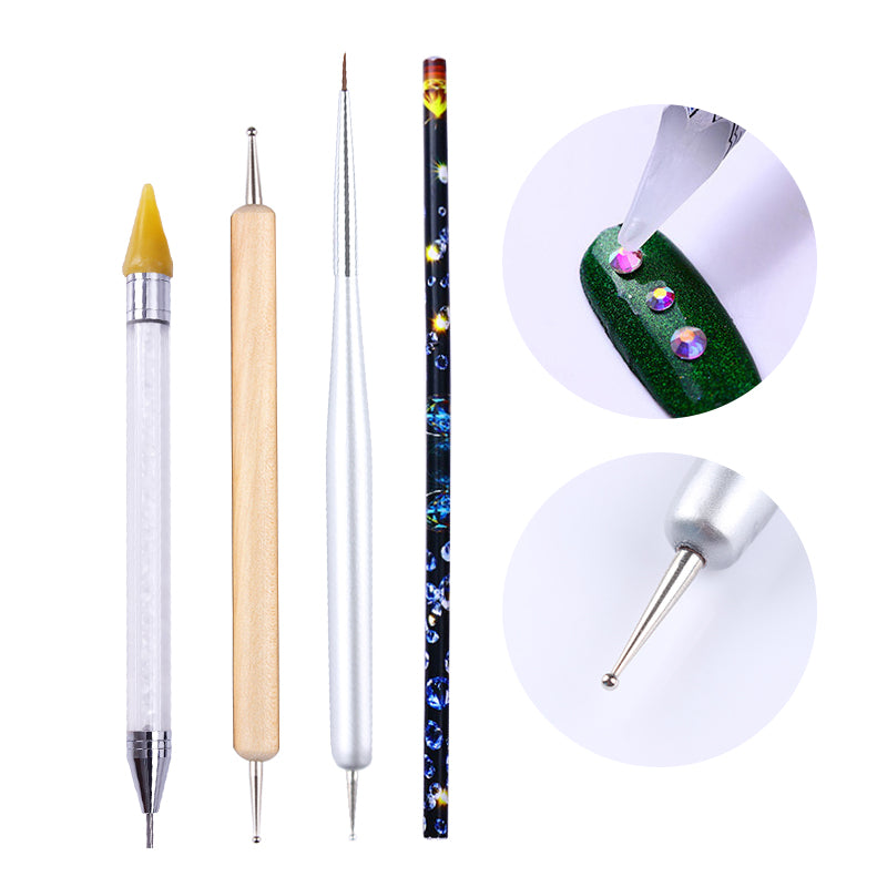 Dual-ended Dotting Pen Drawing Brush Rhinestone Studs Picker Wax Pencil Crystal Beads Handle Nail Art Tool