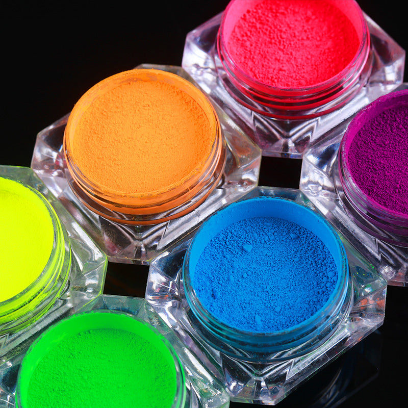 6 Colors Neon Phosphor Pigment Powder Set Nail Glitter Fluorescent Powder