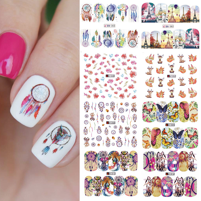 12 Patterns Nail Water Decal Dreamcatcher Transfer Sticker Butterfly Floral Animal Manicure Nail Art Decal