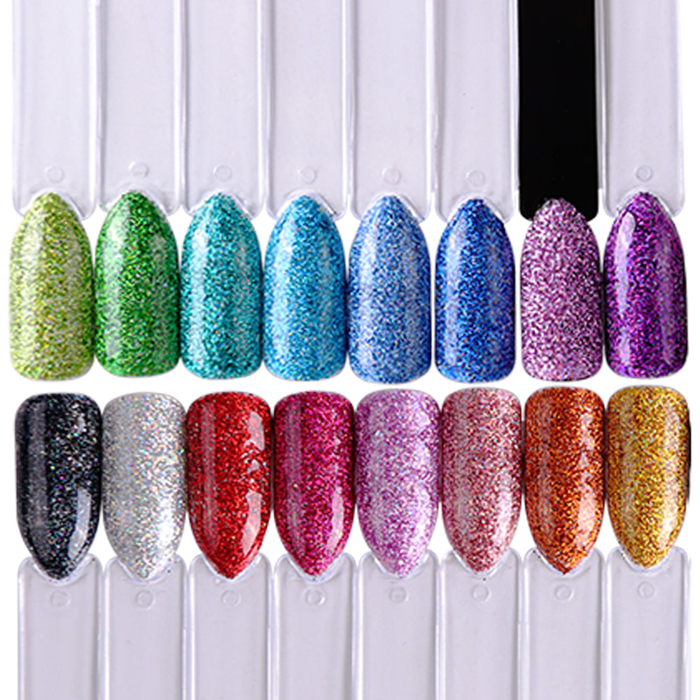 1 Set Shiny Laser Glitter Nail Powder Chrome Pigment Dust Mixed