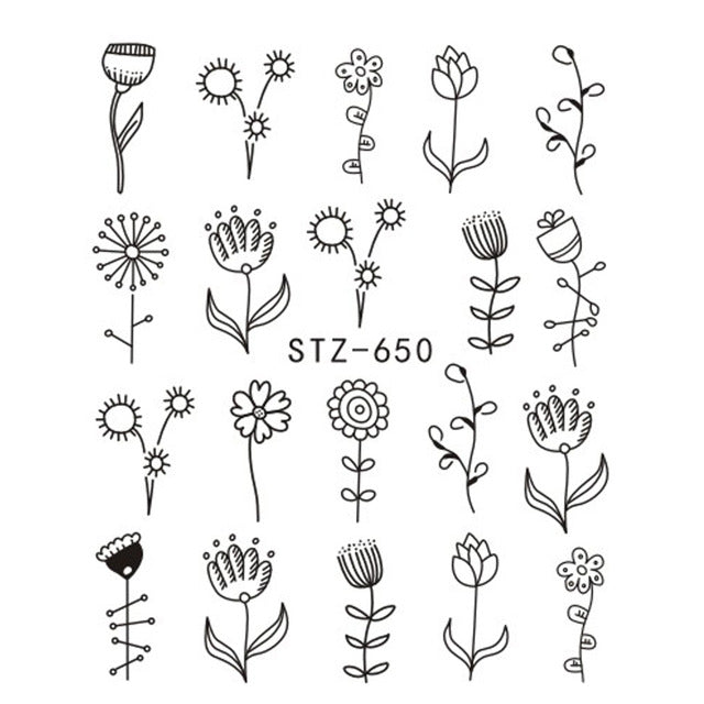 1pcs Nail Sticker Flower Water Transfer Nail Water Decal Black Wraps Tips Manicure