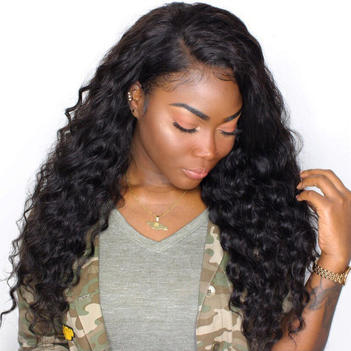 250 Density Lace Front Human Hair Wigs For Women Natural Black Loose Wave Lace Front Wig