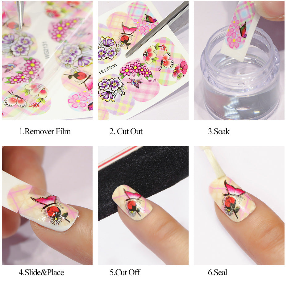 50 sheets Beauty Floral Design Water Transfer Nail Art Sticker ...