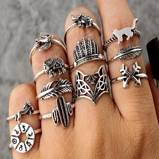 12pcs/Set Bohemia Silver Arrow Elephant Fox Lion Pony Pattern Carved Animal Rings Sets for Women Jewelry