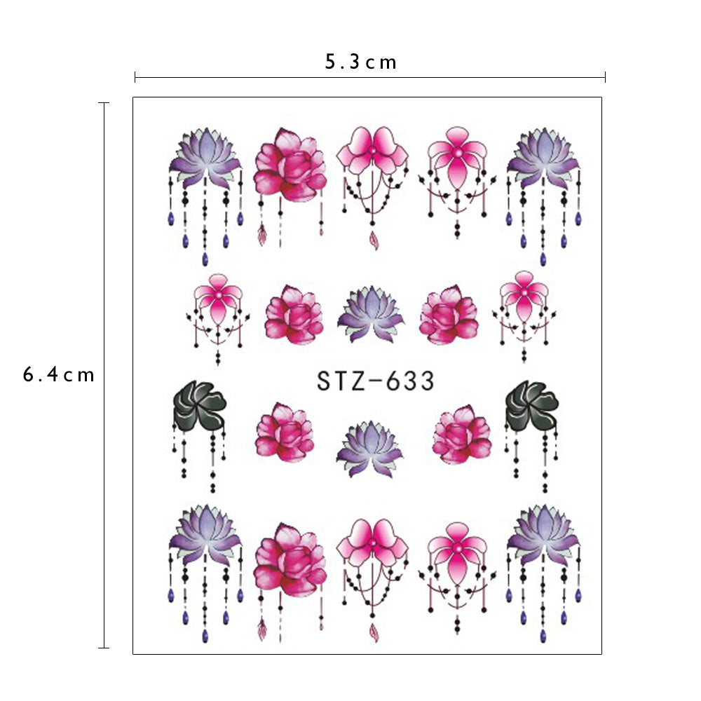 1 Sheet Nail Sticker Water Transfers Stickers Mixed Flowers Colorful Designs Decal DIY Nail Art Foil Tips Stencil