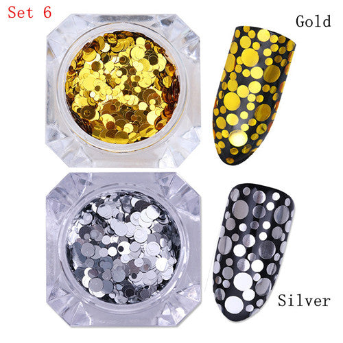 2Boxes Gold Silver Nail Sequins Round Star Marquise Irregular Paillette Nail Flakies Manicure Decoration