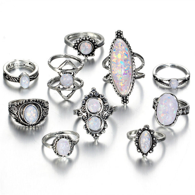 Vintage Hand Knuckle Opal Finger Ring Set For Women Leaf Flower Heart Crown Rings Boho Statement Jewelry