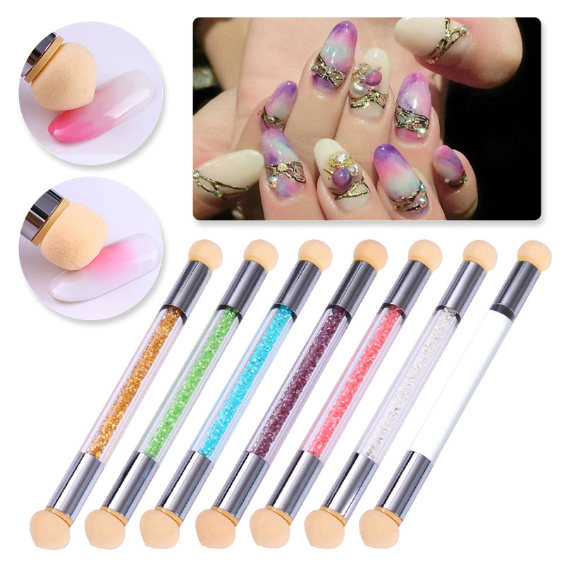 Double-ended Gradient Shading Pen Dotting Brush Sponge Head Rhinestone Handle Nail Art Tool