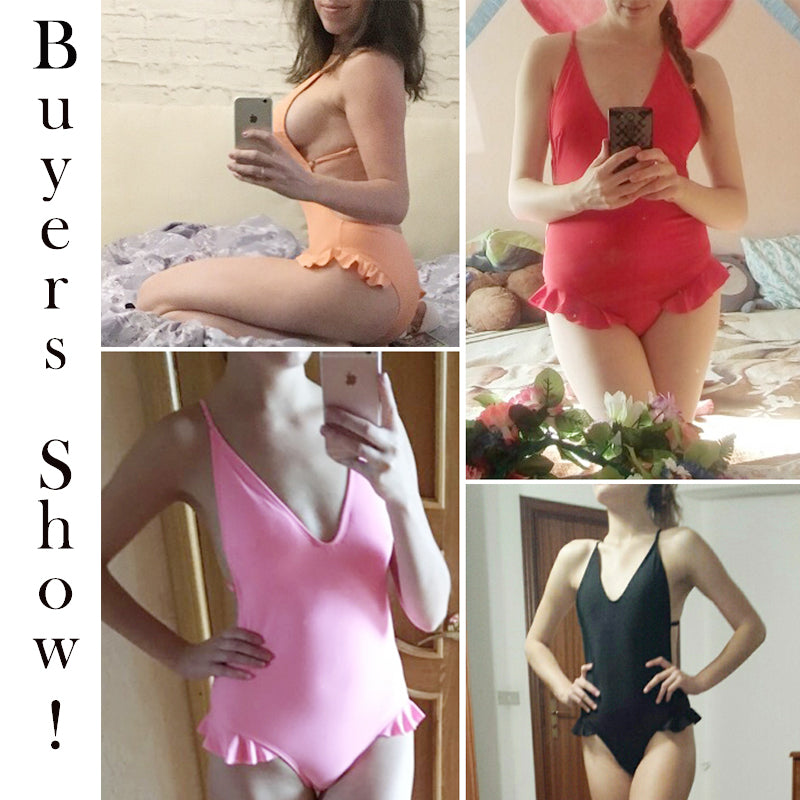 Deep V high cut swimwear one piece swimsuit female bathing suit push up one-piece suits string bikini