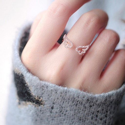 Adjustable Angel Wings Ring Micro Pave Zircon Gold-Color Rings For Women Fashion Rings Jewelry