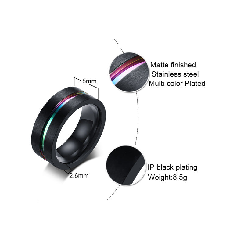 8MM Black Titanium Ring For Men Women Wedding Bands Trendy Rainbow Groove Rings Jewelry