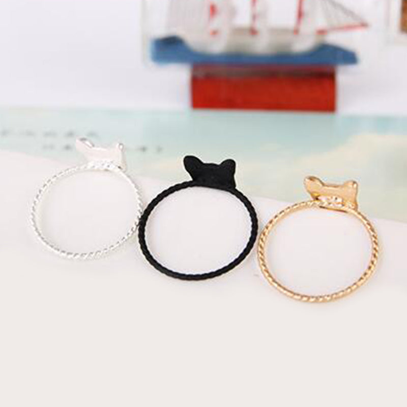 Cute Golden Women Ring Cat Free Size Rhinestones Fashion Jewelry Cocktail Ring