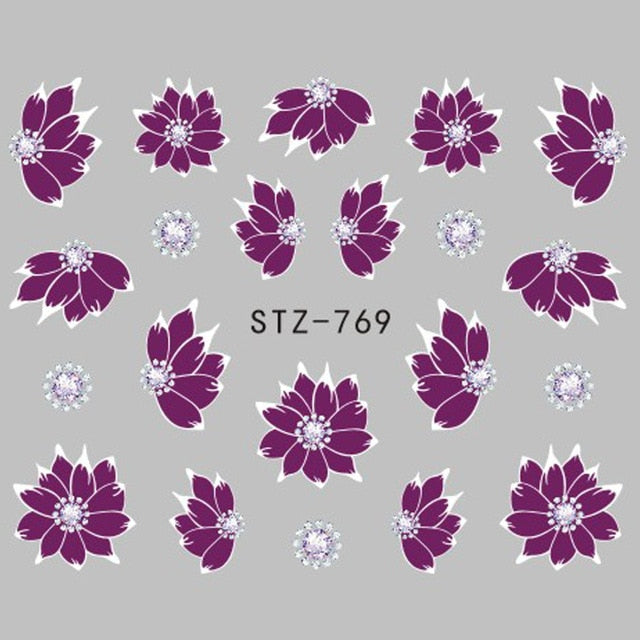 Jewelry Flower Water Decal Black Sticker For Nail Pattern Painting Wrap Paper Foil Tip Tattoo Manicure