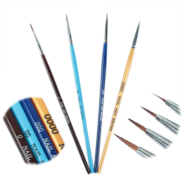 4 Pcsset Color Acrylic Uv Gel Pen Nail Art Paint Drawing Brush Kit