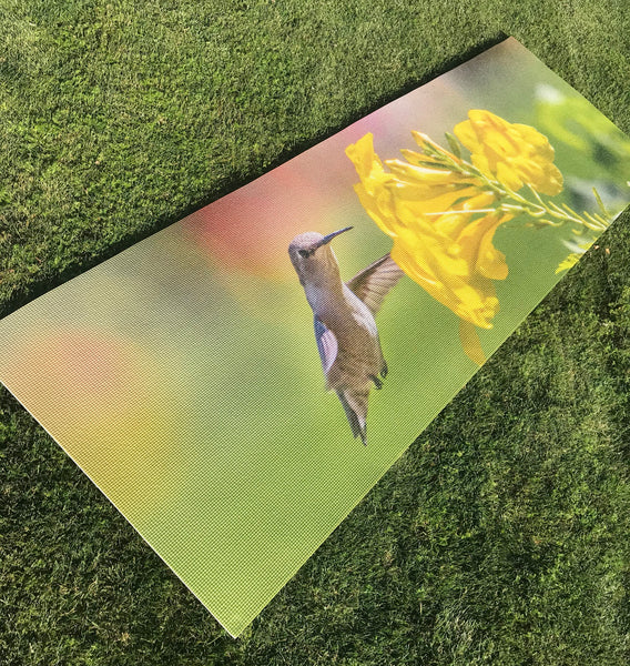 custom printed hummingbird yoga mat.