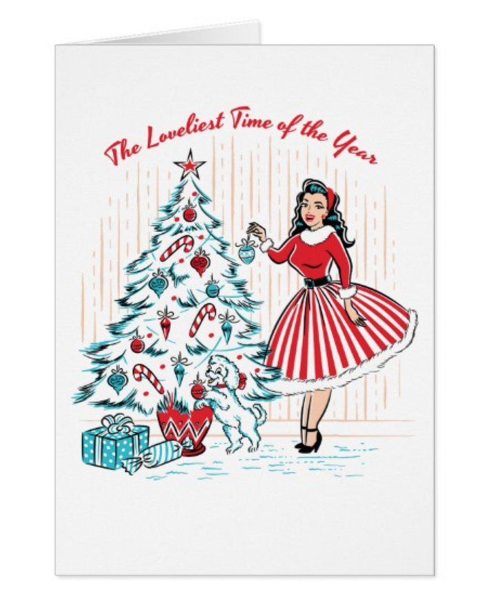 Pinup Girl Christmas Holiday Greeting Cards 5 Pack