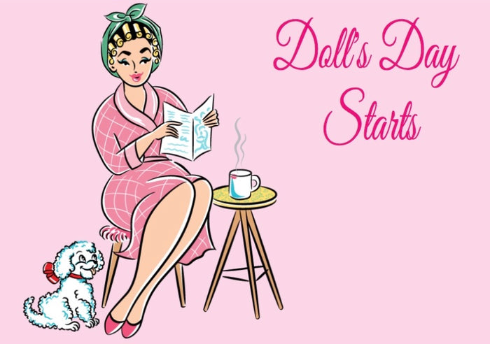 Doll's Day Starts Fridge Magnet Retro Pinup Girl Pink Rockabilly