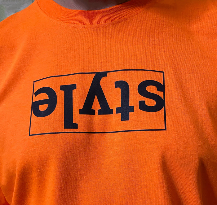 Box Logo Style Orange Mens' T-Shirt