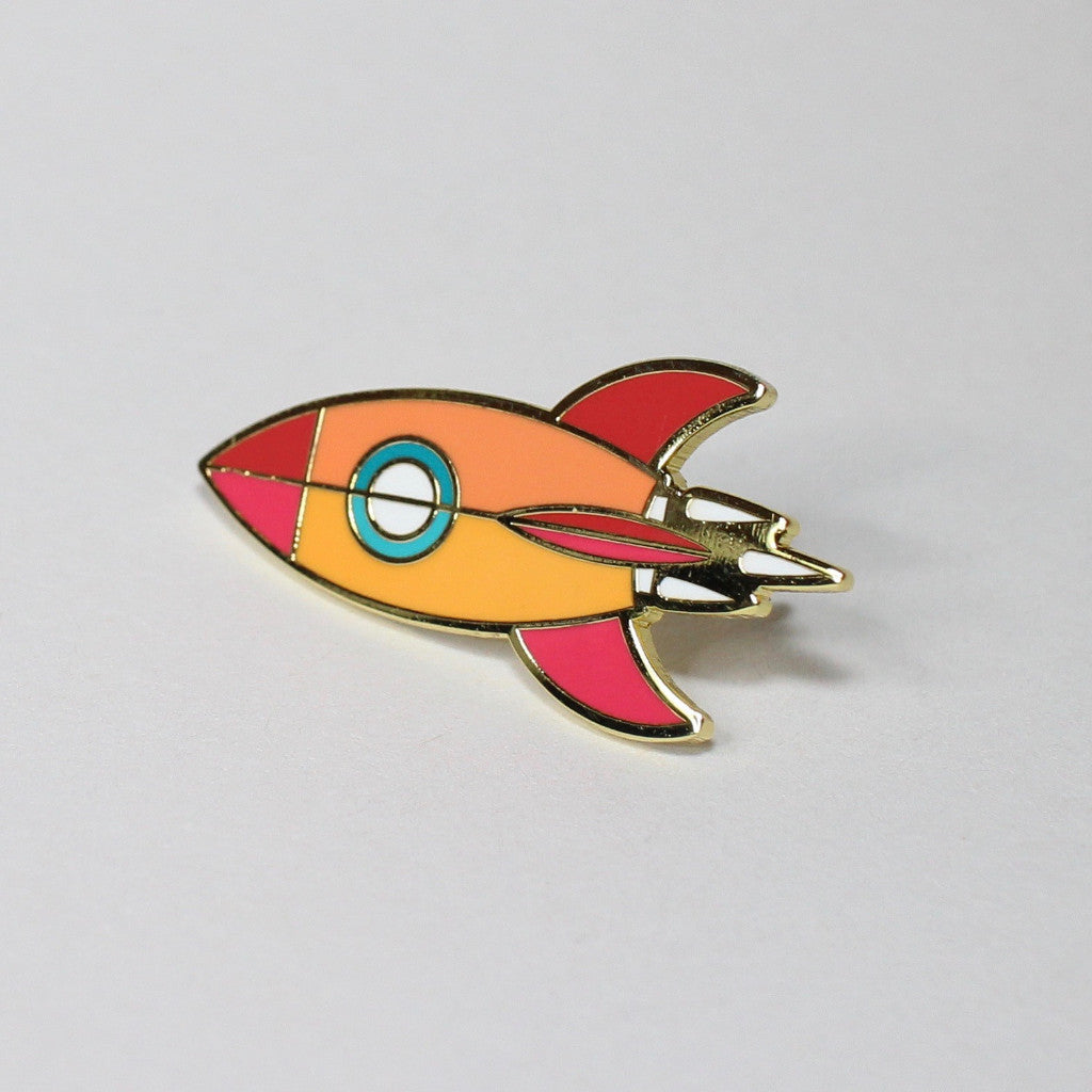 Atomic Rocket Blast Off Pin - Gold