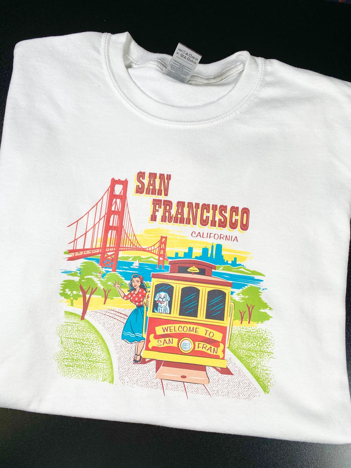 San Francisco Unisex T Shirt Golden Gate Bridge Cable Car Trolley SF