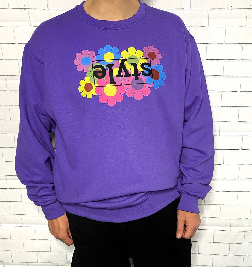Flower Power Style Purple Unisex Crewneck Sweatshirt