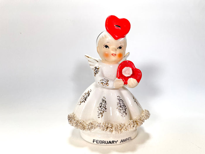 Vintage Norcrest February Valentine Angel Figurine Red Hearts