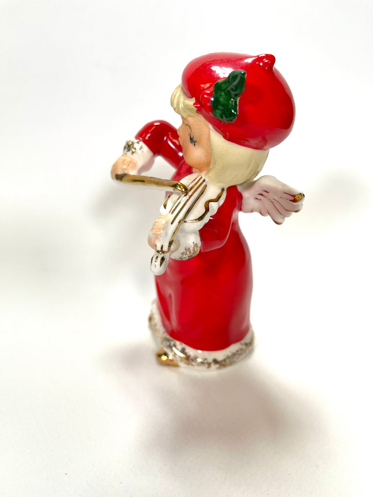 Vintage Christmas Napco Angel Girl Musician Violin 1957