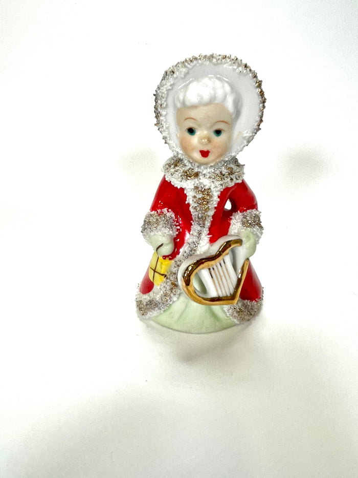 Vintage Christmas Napco or Lefton Angel Bell Girl Figurine with Heart