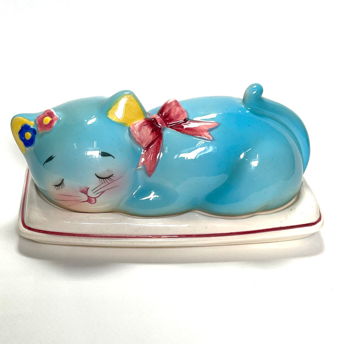 Vintage Anthropomorphic Norcrest Blue Cat Butter Dish RARE 1950s Japan Kitsch