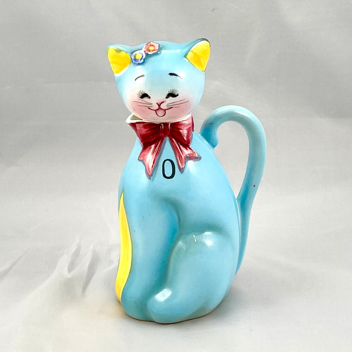 Vintage Norcrest Blue Cat Oil Cruet RARE PY Japan Kitch Anthropomorphic