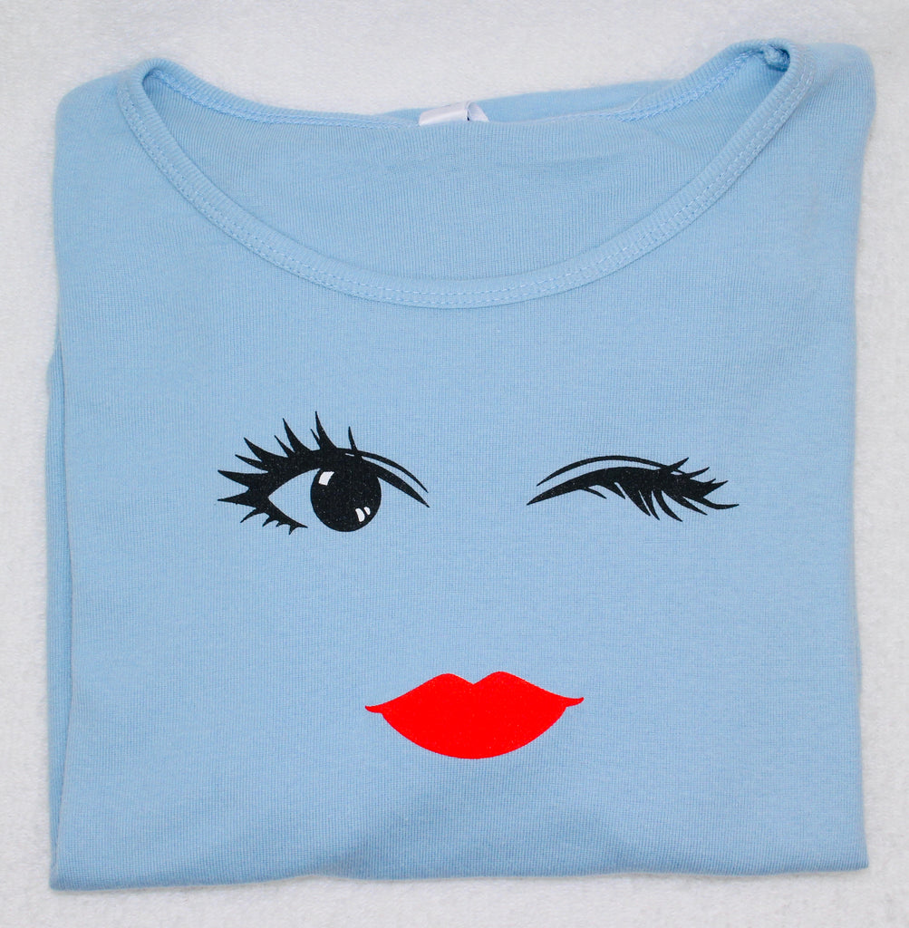 Red Lips Winking Honey Short Sleeve T-Shirt Top Baby Blue