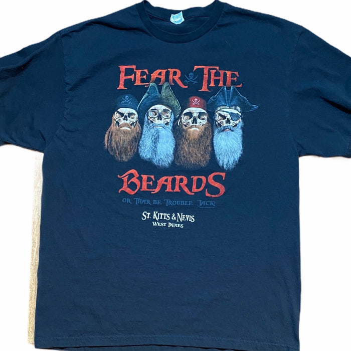 Men's Fear the Beards T-shirt Skeleton XL Beard