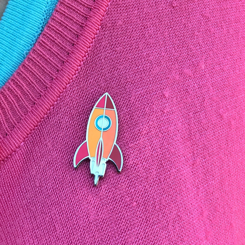 Atomic Rocket Blast Off Lapel Pin - Silver