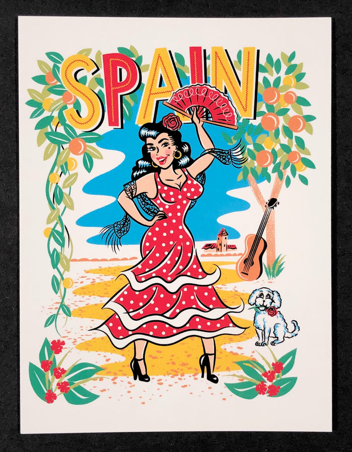 Olé Spain Flamenco Dancer Girl Vintage Postcard