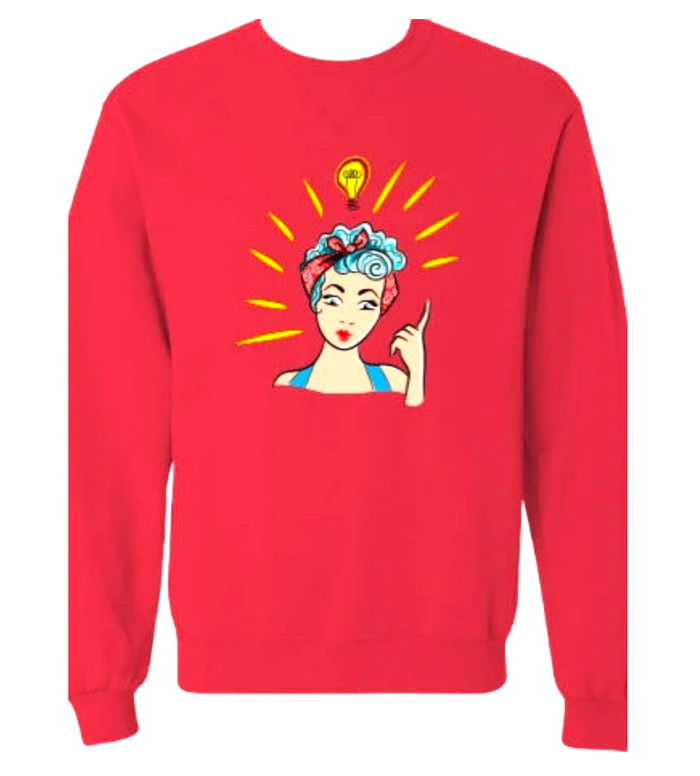 Vintage Girl Red Boyfriend Sweatshirt Pullover