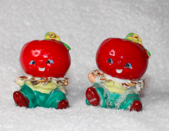 Vintage Anthropomorphic Tomato Red Salt Pepper Shakers Veggie Heads Retro