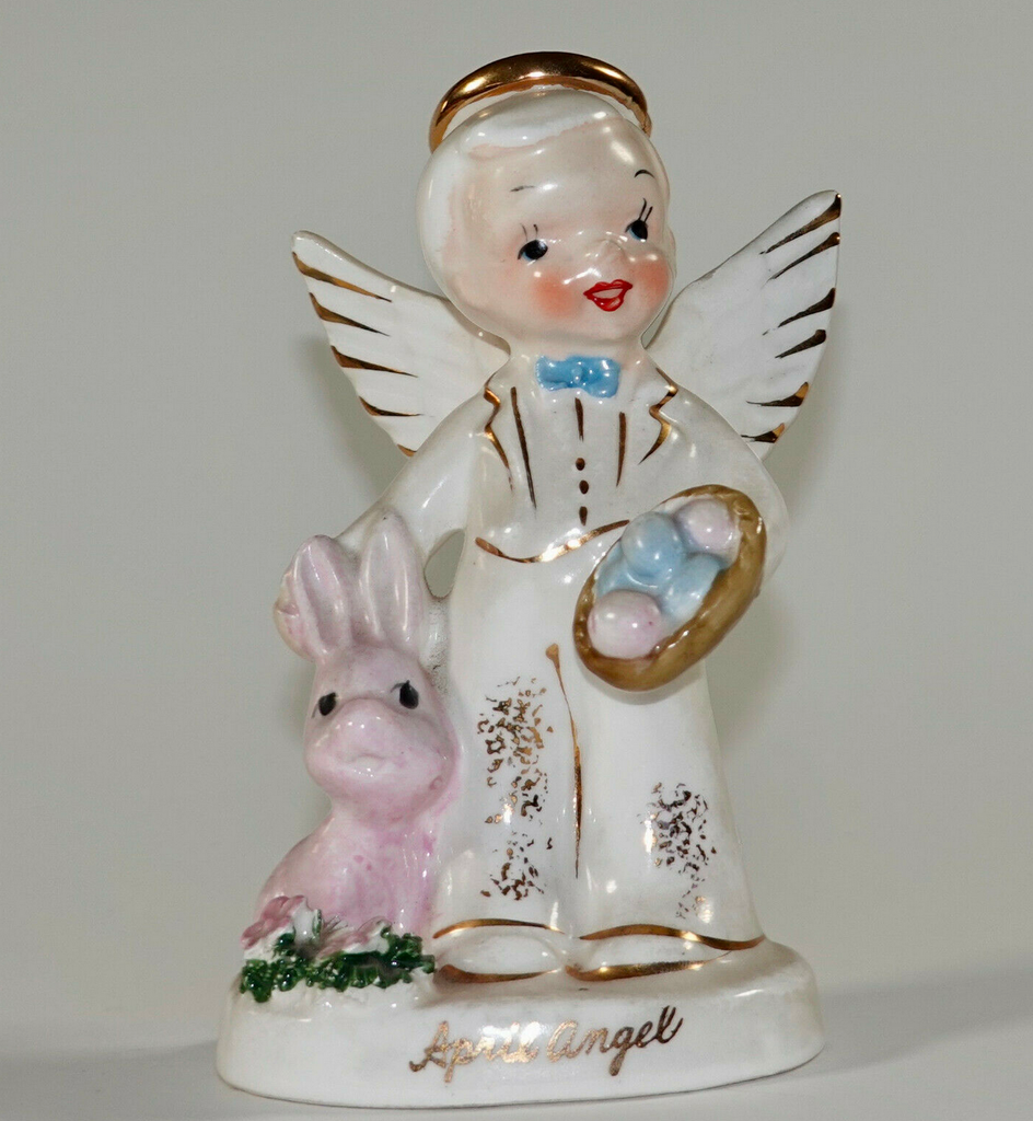 Vintage Napco Easter Angel Boy April Bunny Rabbit A1920 1956 Figurine
