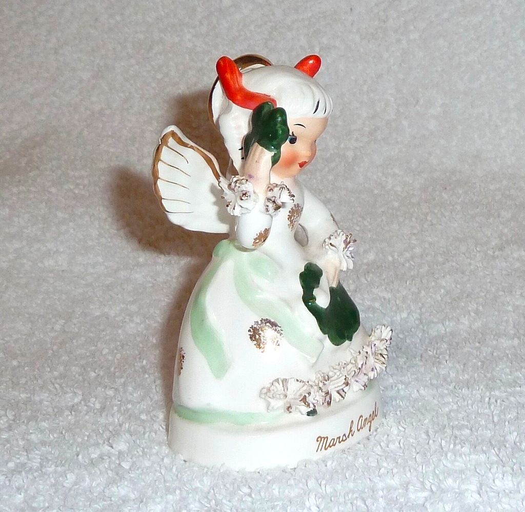 Details about  Vintage Napco Birthday Angel March St. Patrick Day Shamrock 1950s Figurine