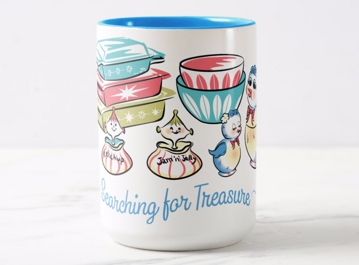 Pyrex, Lefton Bluebird, Holt Howard Searching for Treasure Coffee Mug