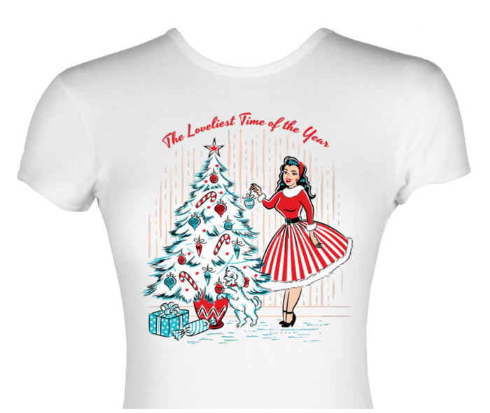 Christmas Holiday Pinup Girl Decorating Christmas Tree Print Cotton Top