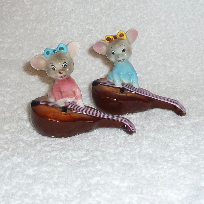Vintage Anthropomorphic PY Japan Mouse Violin Mice Guitar Salt and Pepper Shakers