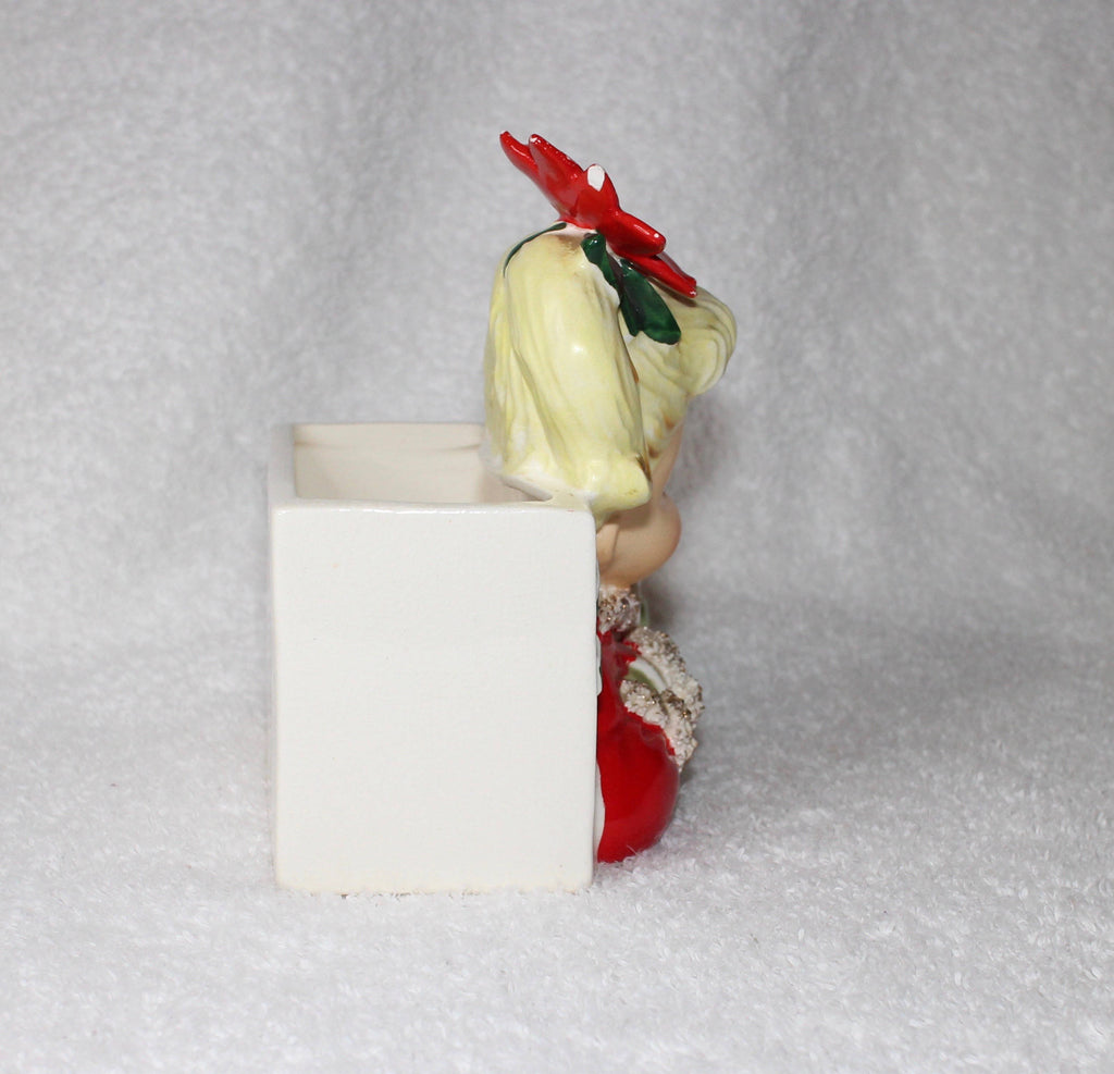 Vintage 1950s NAPCO Christmas GIRL Poinsetta Headvase Planter Head Vase