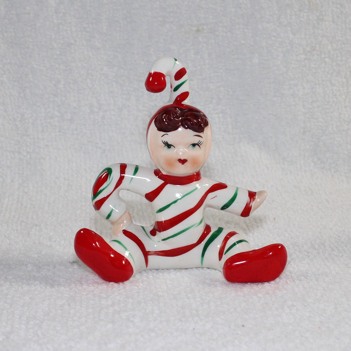 Vintage Lefton Christmas Candy Cane Kid Peppermint Boy Girl Figurine 1950s Japan
